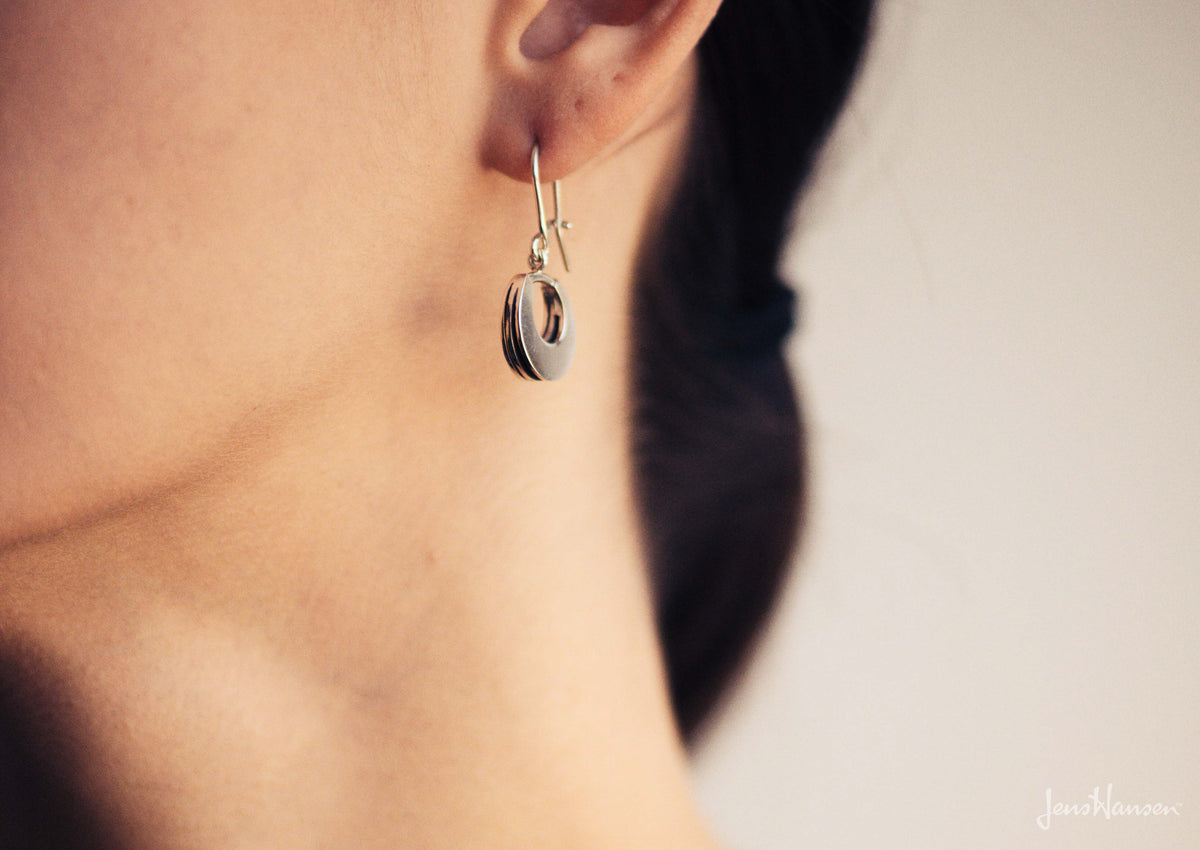 Crescent Style Sydney Fin Earrings, Sterling Silver