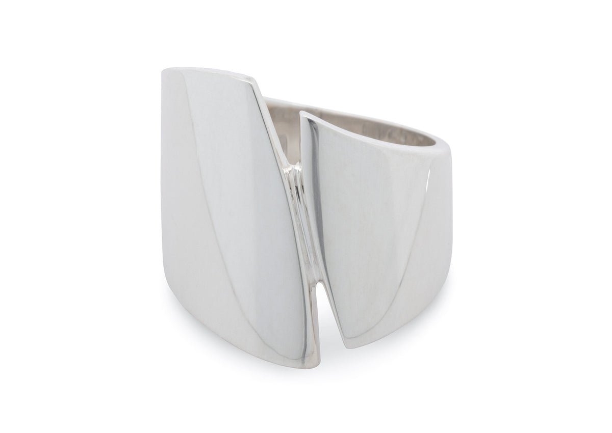 Signature Asymmetric Wide Ring, Sterling Silver