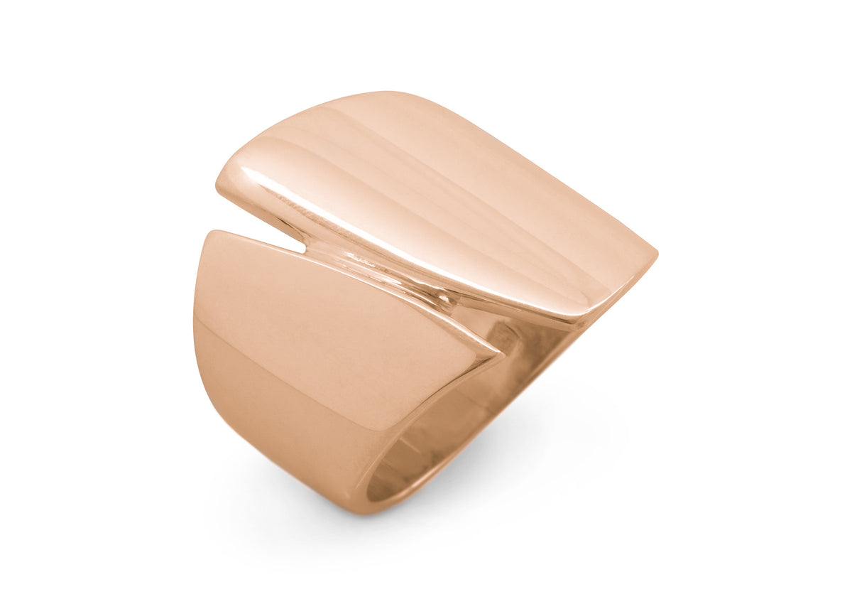 Signature Asymmetric Wide Ring, Red Gold