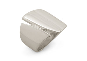 Signature Asymmetric Wide Ring, White Gold & Platinum