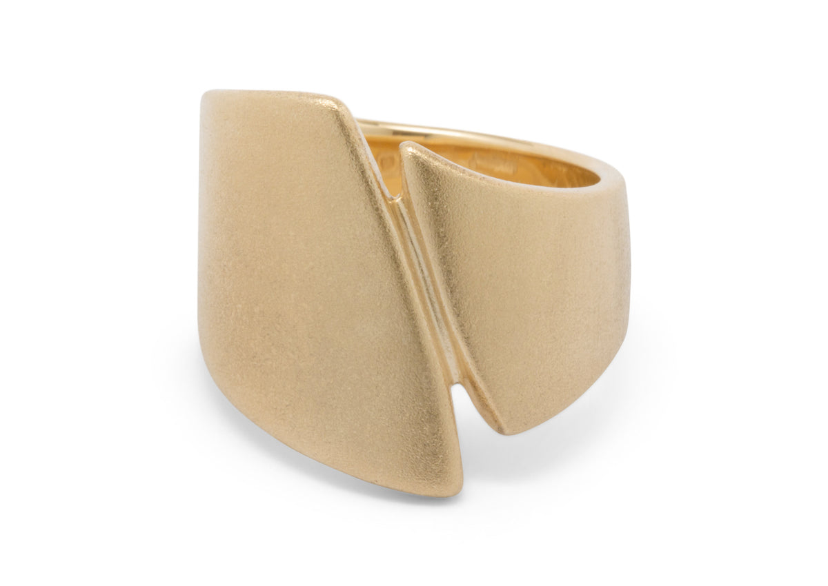 Signature Asymmetric Ring, Yellow Gold