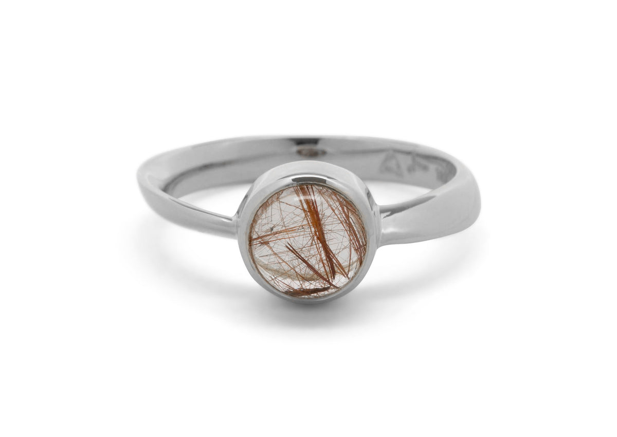 Round Cabochon Gemstone Möbius Twist Ring, Sterling Silver