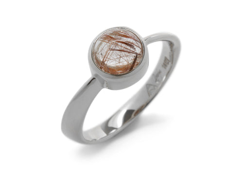Round Cabochon Gemstone Möbius Twist Ring, White Gold & Platinum