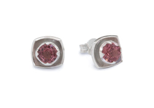 Flower Gemstone Earrings, Sterling Silver