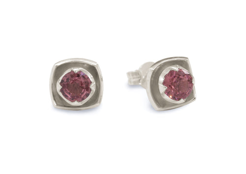 Flower Gemstone Earrings, White Gold & Platinum