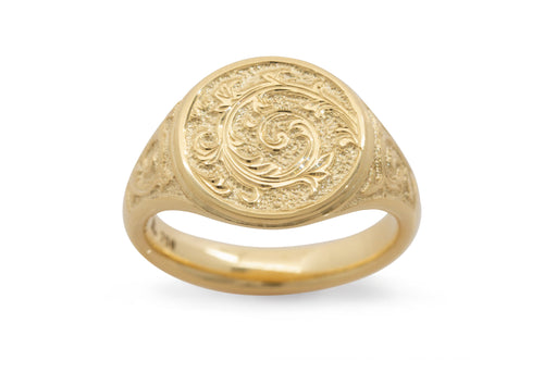 Round Hand Engraved Signet Ring, Yellow Gold