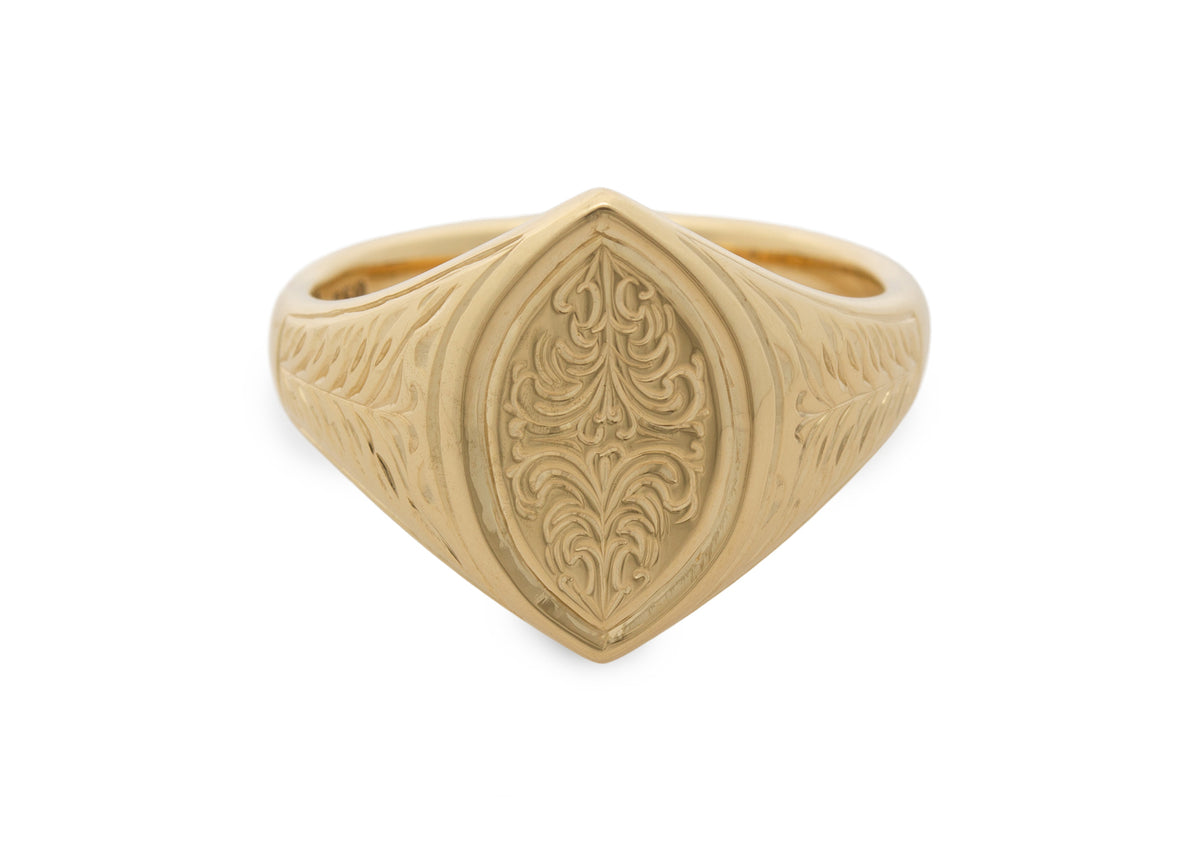Navette Hand Engraved Signet Ring, Yellow Gold