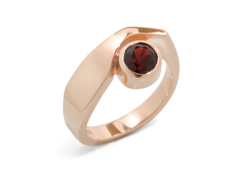 Asymmetric Gemstone Ring, Red Gold