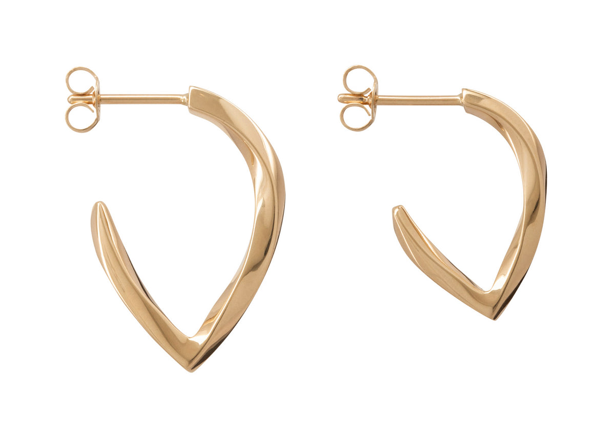 Twisted Block Earrings, Yellow Gold