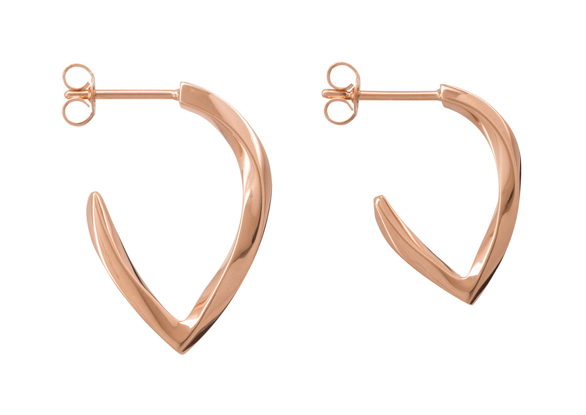 Twisted Block Earrings, Red Gold