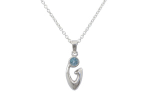 Free Form Gemstone Pendant, Sterling Silver