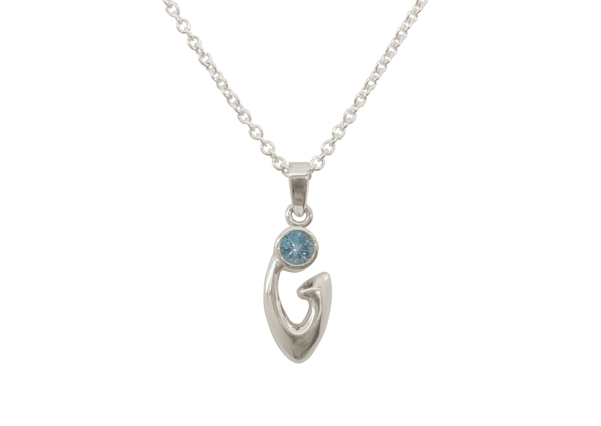 Free Form Gemstone Pendant, White Gold