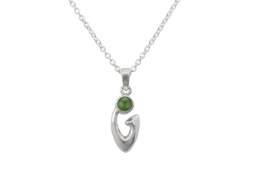 Free Form Cabochon Gemstone Pendant, Sterling Silver