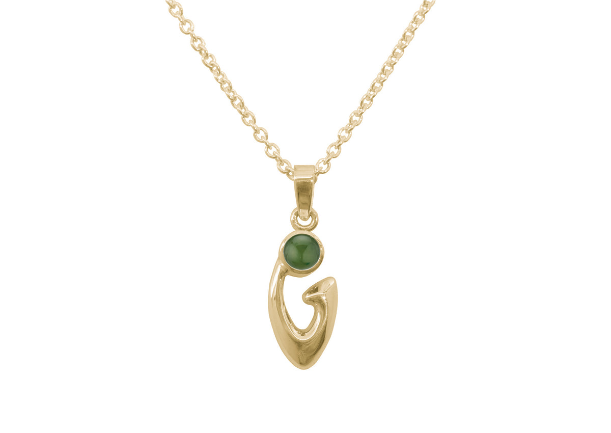 Free Form Cabochon Gemstone Pendant, Yellow Gold
