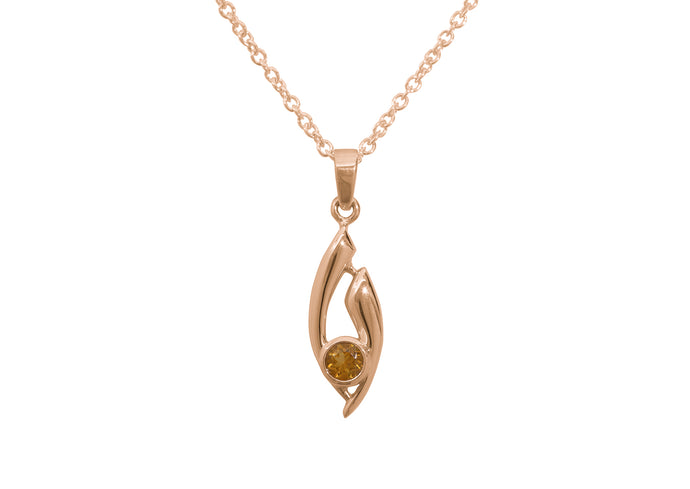 Flowing Gemstone Pendant, Red Gold