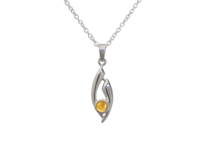 Flowing Cabochon Gemstone Pendant, Sterling Silver