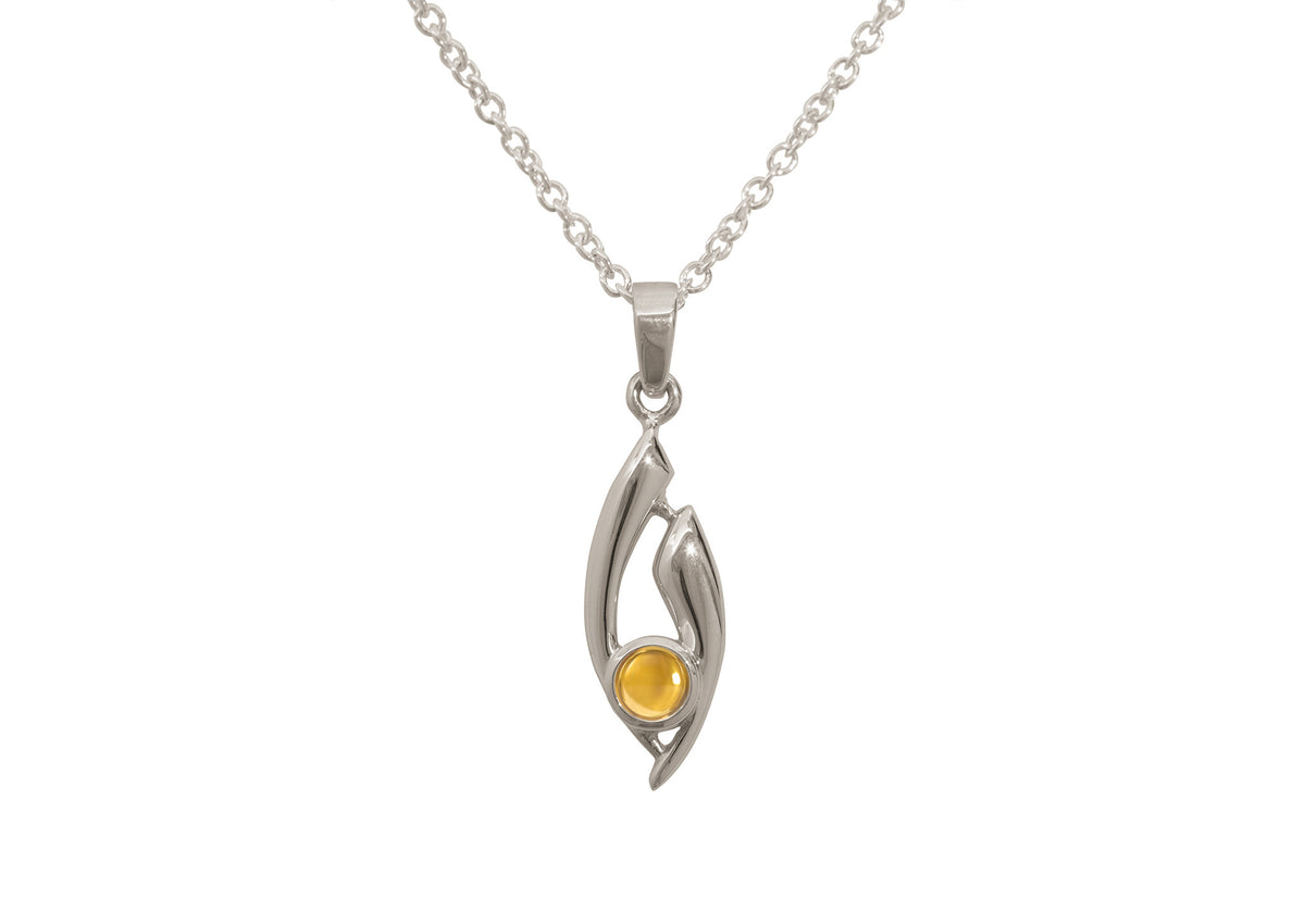 Flowing Cabochon Gemstone Pendant, White Gold