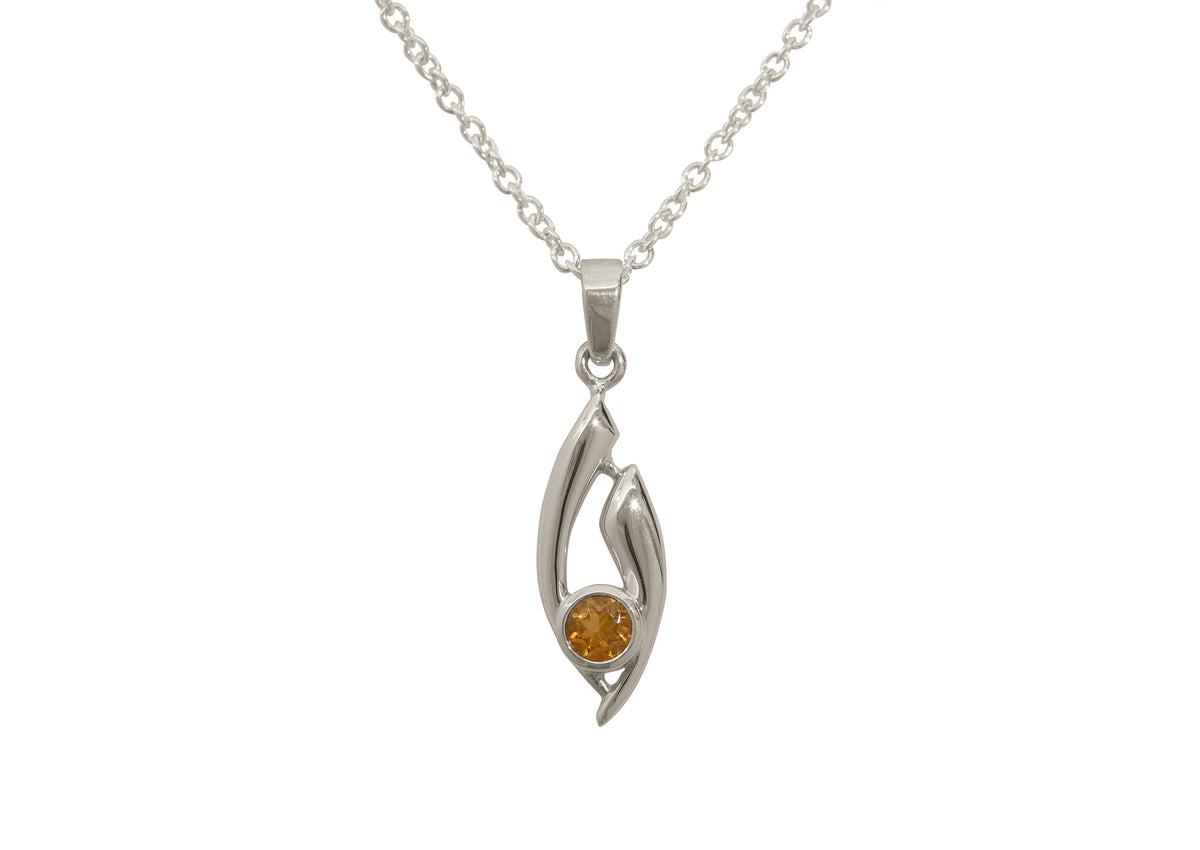 Flowing Gemstone Pendant, White Gold