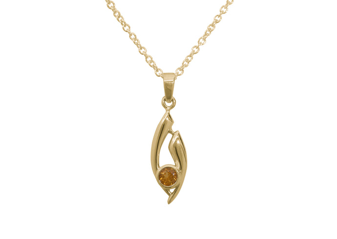 Flowing Gemstone Pendant, Yellow Gold
