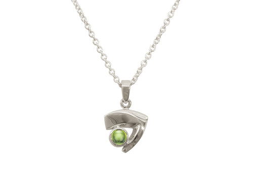 Signature Cabochon Gemstone Pendant, White Gold