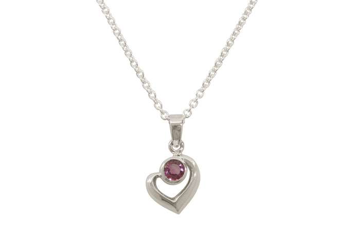 Abstract Heart Gemstone Pendant, White Gold