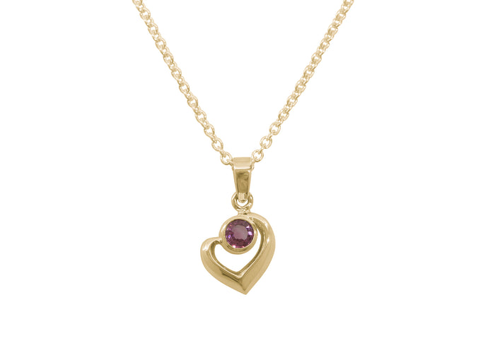 Abstract Heart Gemstone Pendant, Yellow Gold