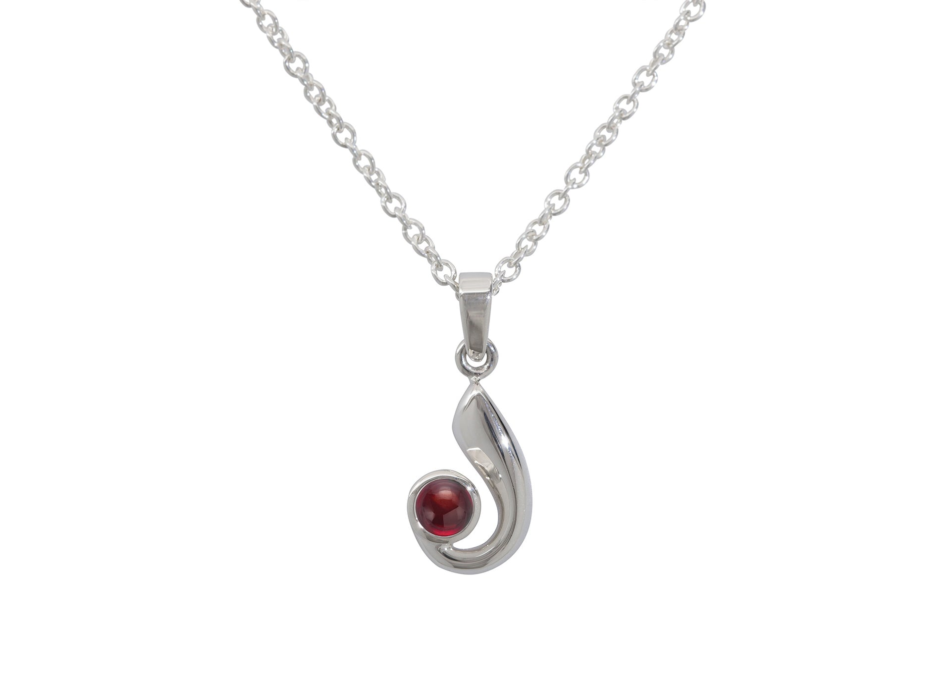 Striking Cabochon Gemstone Pendant, Sterling Silver