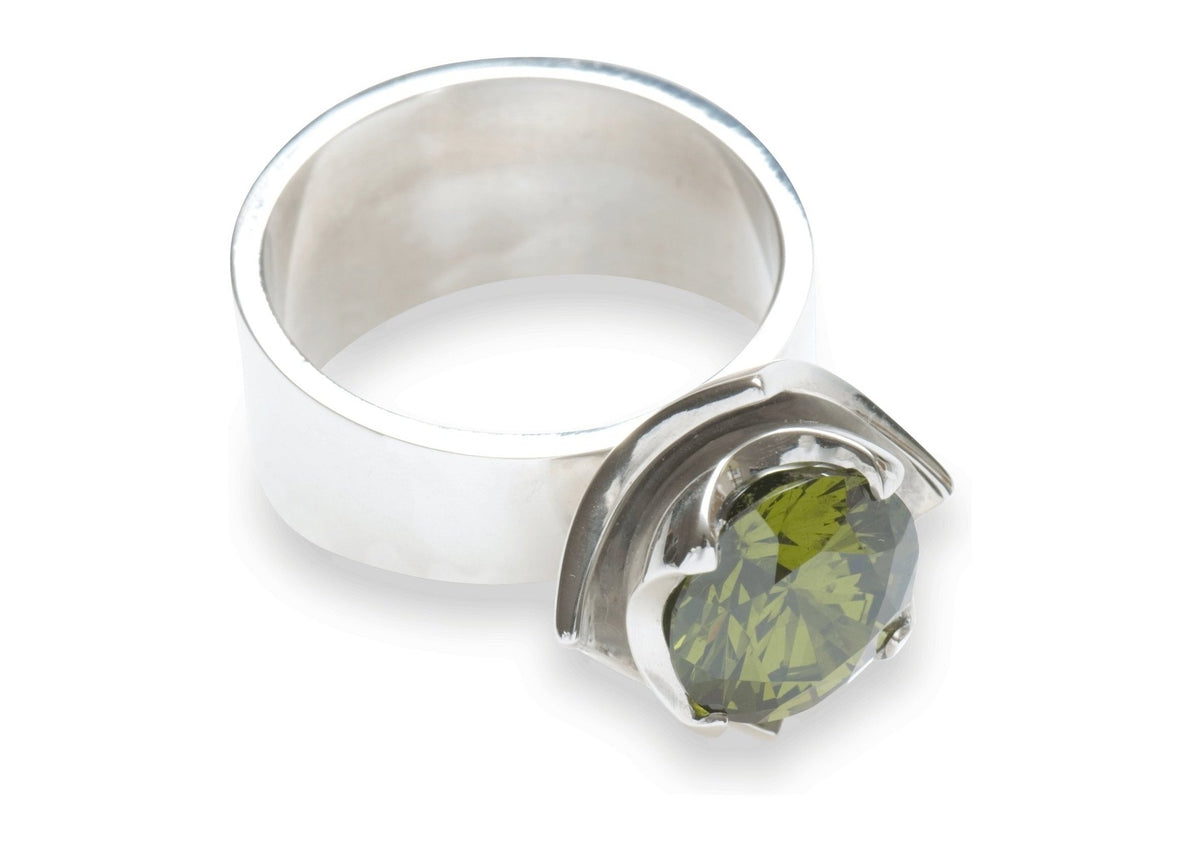 2008 Foundation Release Sterling silver double-cup ring with faceted stone