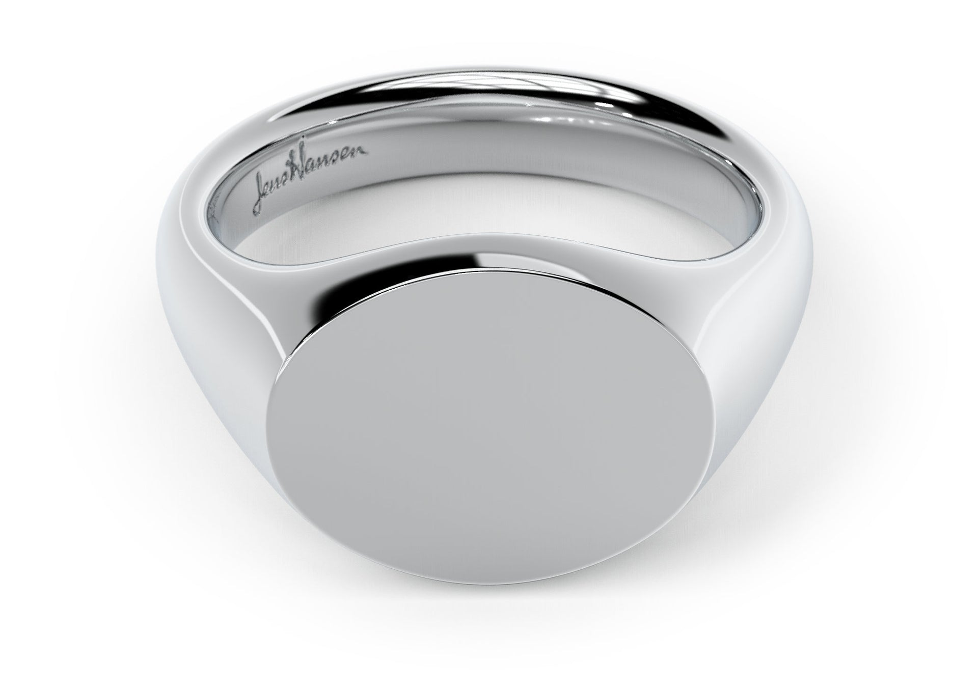 Landscape Signet Ring, White Gold & Platinum