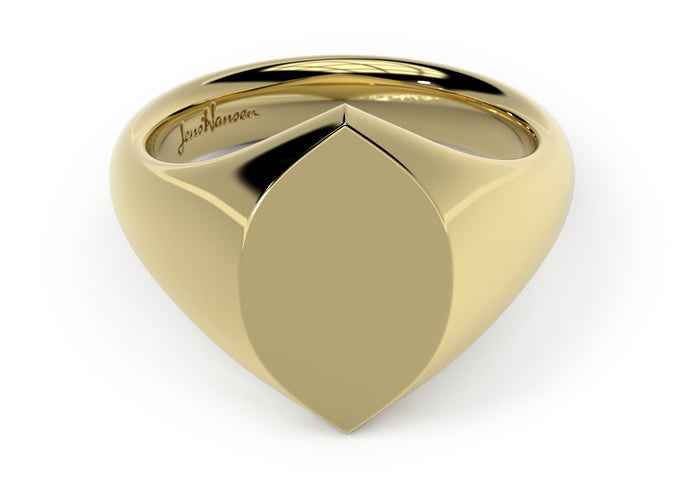 Navette Signet Ring, Yellow Gold