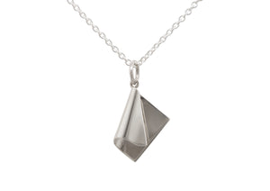 Folded Drop Pendant, White Gold & Platinum
