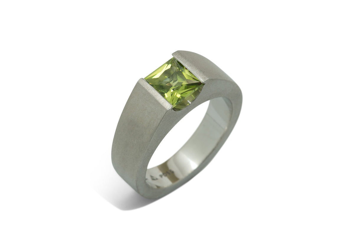 Satin Princess Cut Gemstone Ring, Platinum
