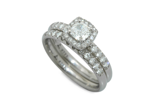 Cushion Diamond Halo Ring, White Gold & Platinum