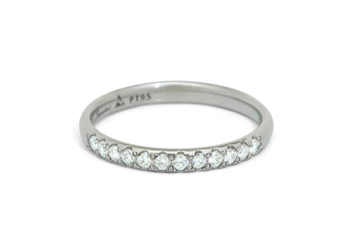 Pave Diamond Wedding Band, White Gold & Platinum