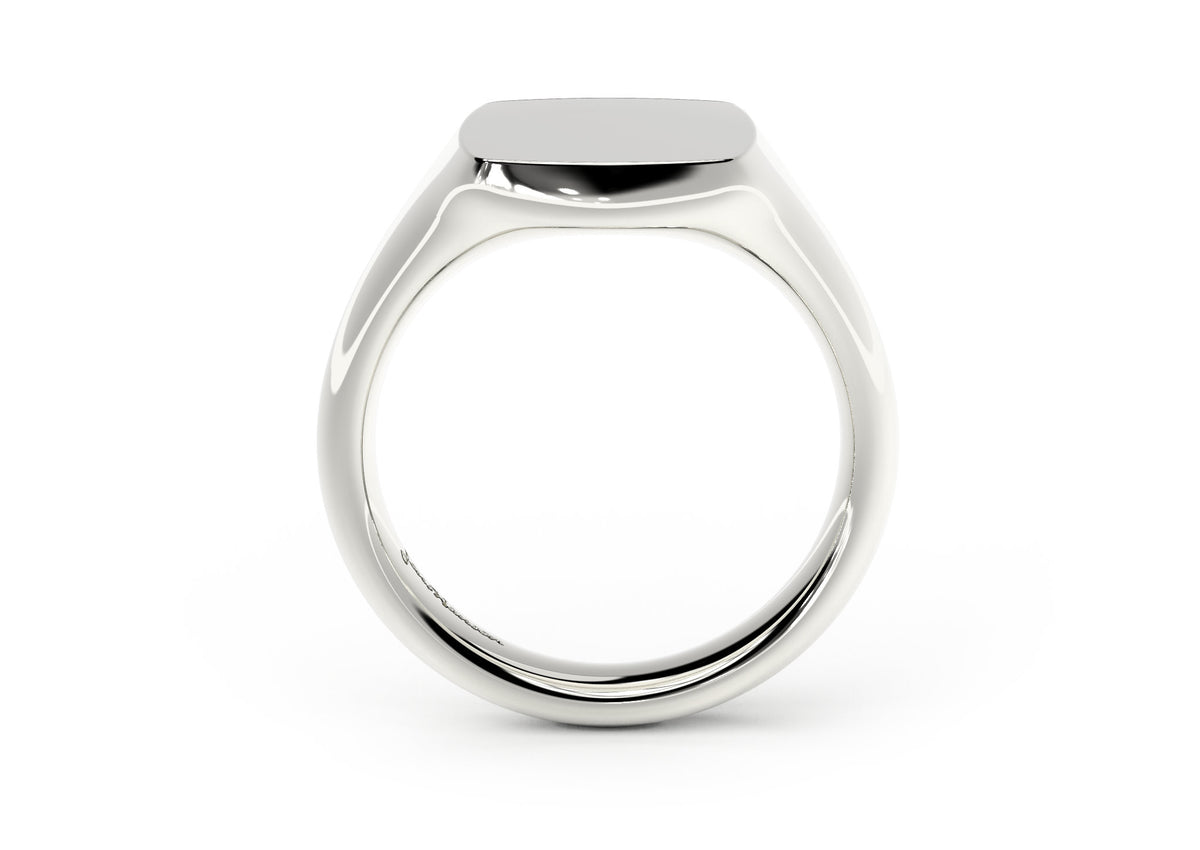 Quadrant Signet Ring, White Gold & Platinum