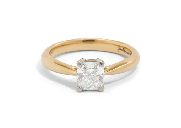 Custom Cushion Diamond Engagement Ring, Yellow Gold & Platinum