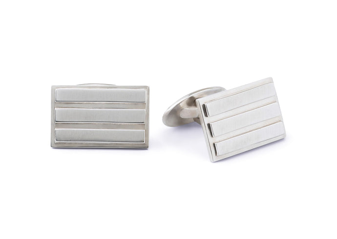 Rectangular Three Stripe Cufflinks, Sterling Silver