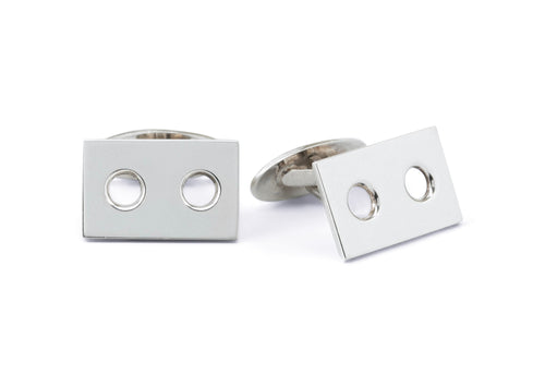 Rectangular Cufflinks With Two Cutout Circles, Sterling Silver