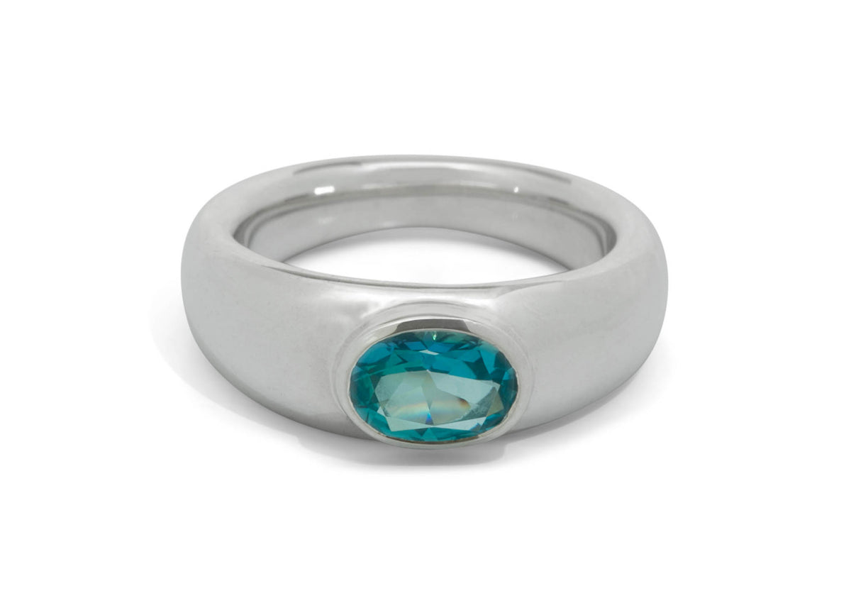 Oval Faceted Gemstone Ring, Sterling Silver