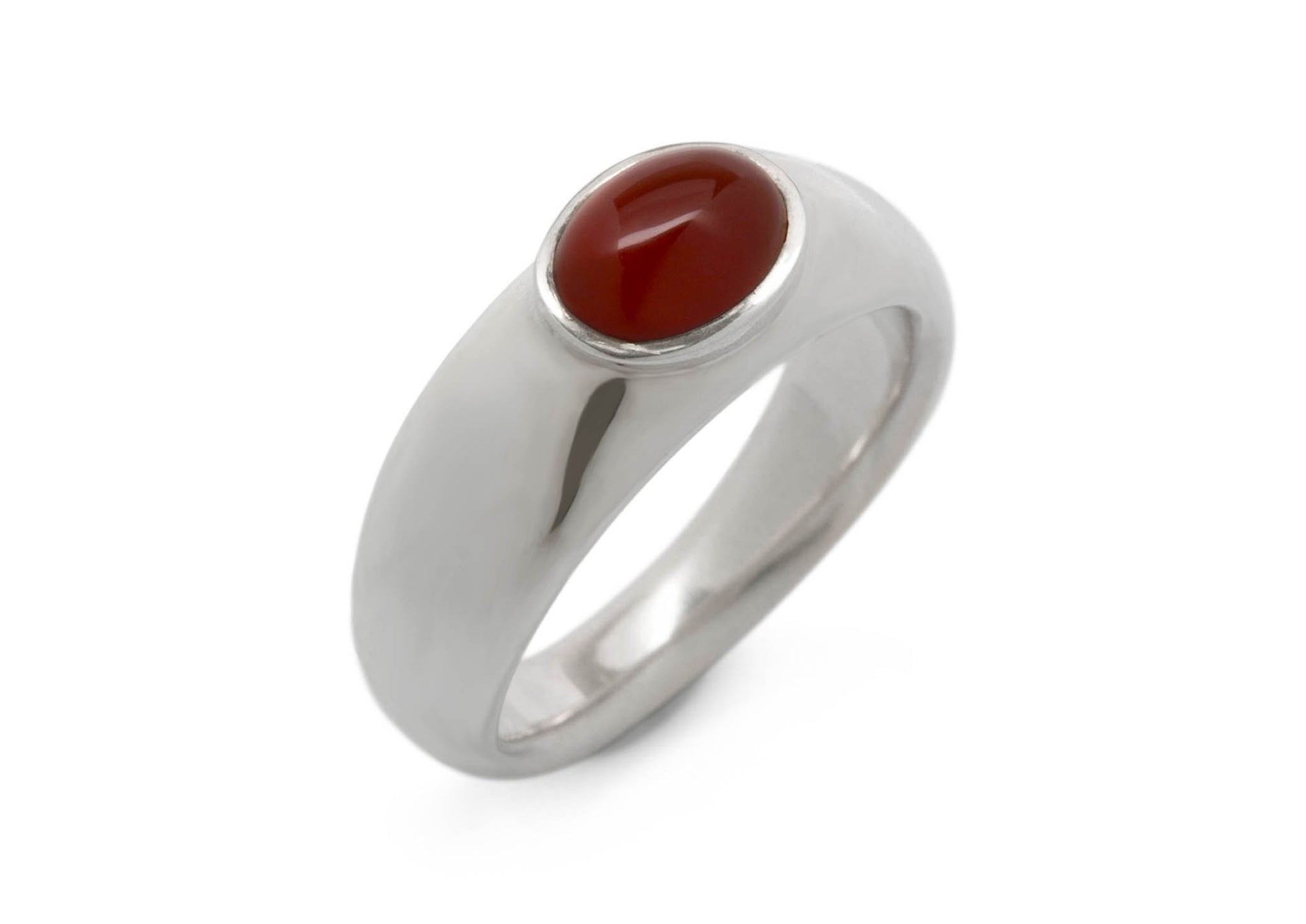 Oval Cabochon Gemstone Ring, Sterling Silver