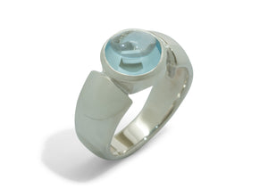Contemporary Cabochon Cut Gemstone Ring, Sterling Silver