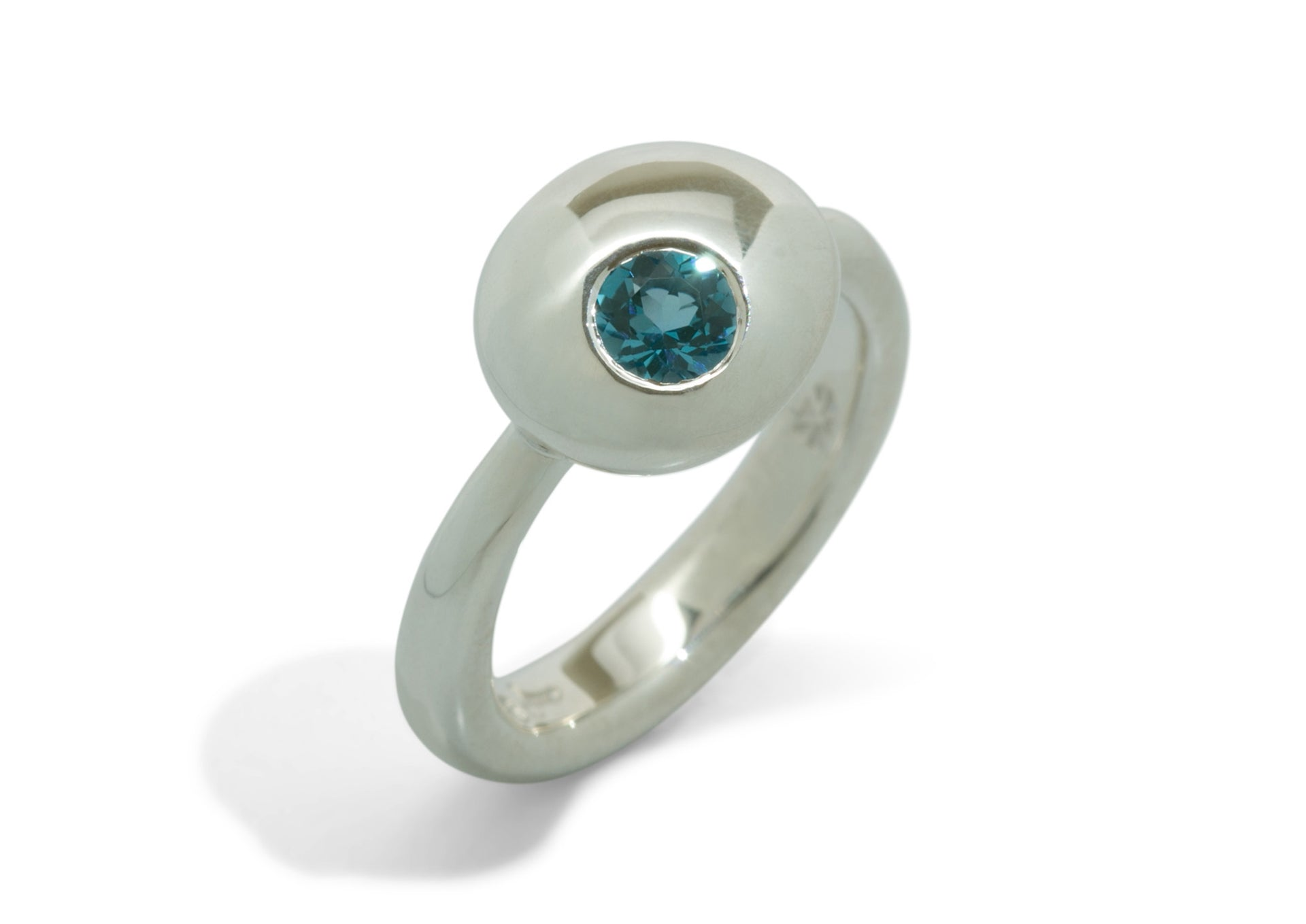 Gemstone Button Ring, Sterling Silver