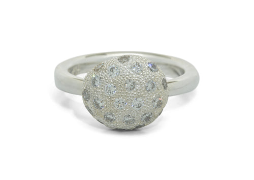 Diamond Button Ring, White Gold & Platinum