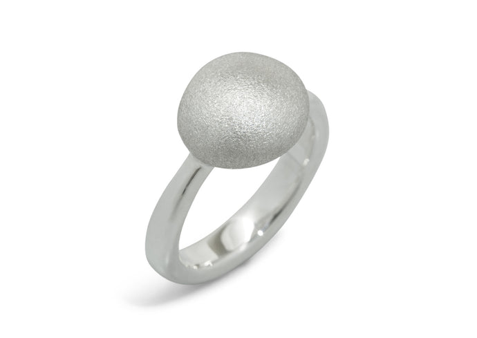Button Ring, Sterling Silver
