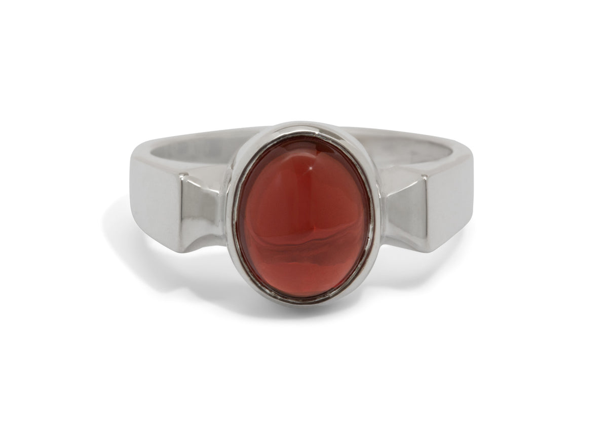 Classic Cabochon Gemstone Ring, Sterling Silver