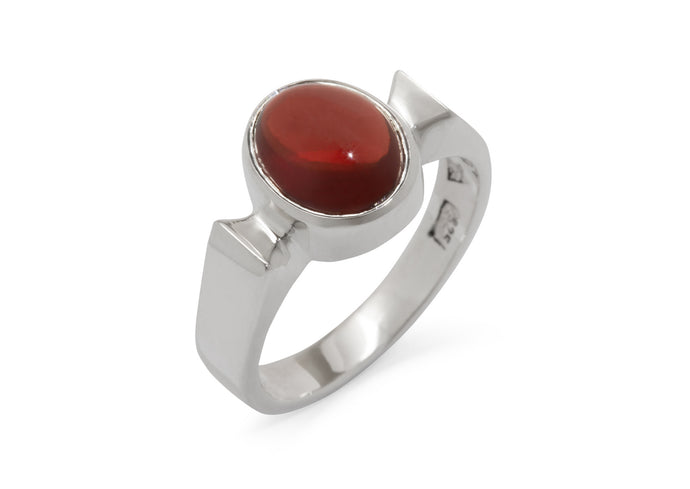 Classic Oval Cabochon Gemstone Ring, Sterling Silver