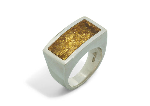 24ct Gold Leaf Rectangle Resin Rings, Sterling Silver