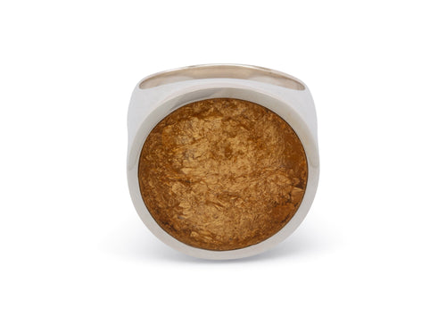 24ct Gold Leaf Round Resin Rings, Sterling Silver