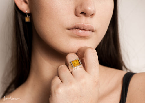 24ct Gold Leaf Square Resin Ring, Sterling Silver