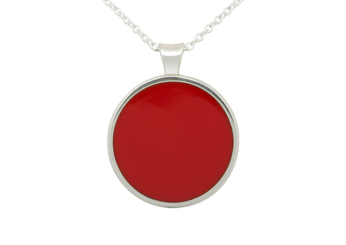 Round Resin Pendant, Sterling Silver